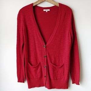 Madewell Graduate Cardigan Sweater Red Small